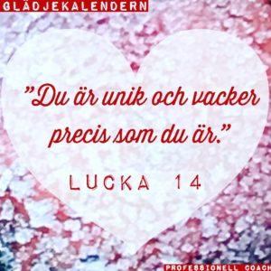 Lucka 14 Du är unik och vacker